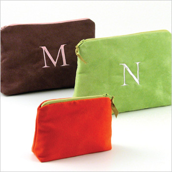 personalized faux suede cosmetic bag by Objects of Desire