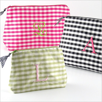 Personalized Silk Gingham Cosmetic Bags by Objects of Desire