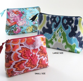 personalized laminated print cosmetic bags, monogrammed makeup bags, wet bag, oilcloth bag