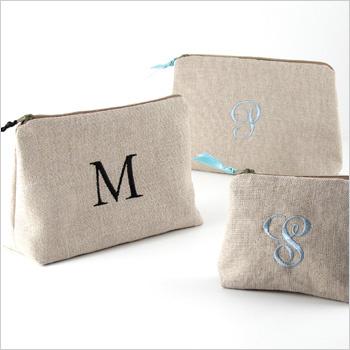 personalized linen cosmetic bag linen makeup bag