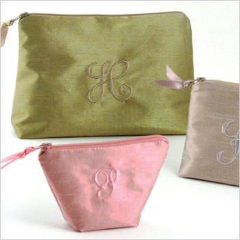 Personalized Metallic Dupioni Cosmetic Bags by Objects of Desire