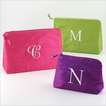 Personalized Dupioni Silk Cosmetic Bags by Objects of Desire