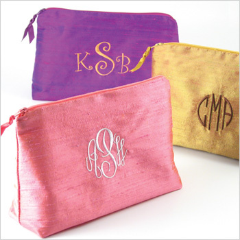 Monogramed Silk Cosmetic Bags by Objects of Desire