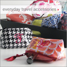 Objects of Desire everyday travel accessories: personalized coin purses, purse mirrors, and credit card cases