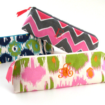 Personalized printed cotton cosmetic brush case by Objects of Desire is monogrammed with a single initial of your choice.