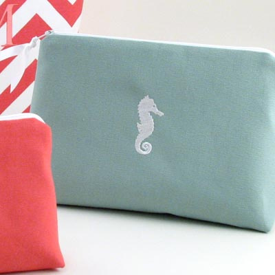 coastal theme large cosmetic bag with embroidered seahorse icon