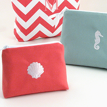 coastal theme small cosmetic bag with embroidered scallop and seahorse