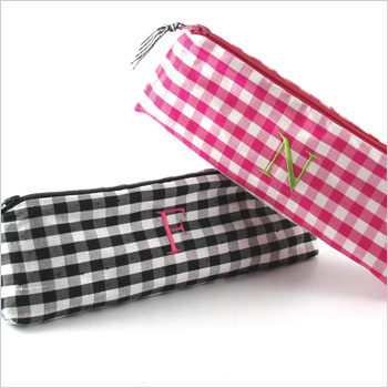 personalized gingham silk cosmetic brush case by Objects of Desire
