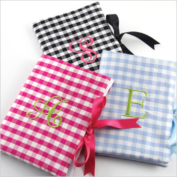 personalized gingham silk photo album