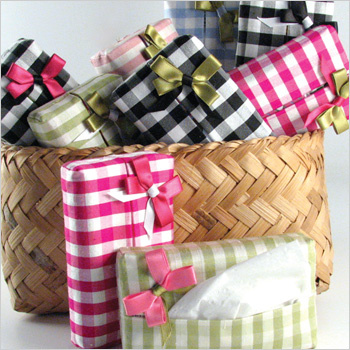 gingham silk tissue cases