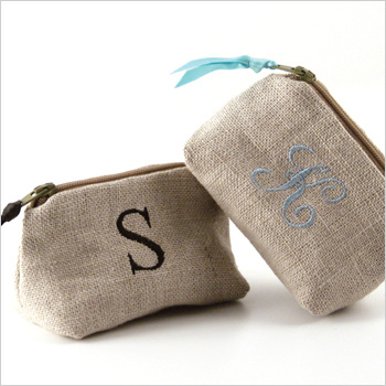 personalized linen coin purse