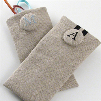 personalized linen eyeglass case