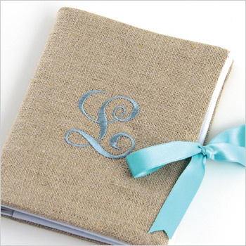 personalized linen photo album