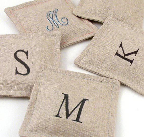 lavender drawer sachets with embroidered initial