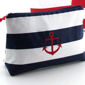 large nautical cosmetic bag with embroidered nautical icon