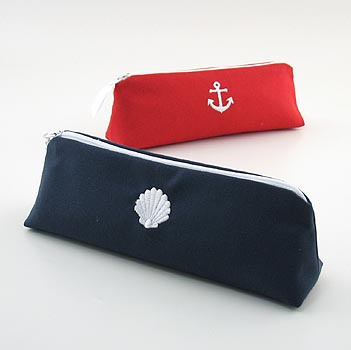 nautical cosmetic brush case is embroidered with a nautical theme icon