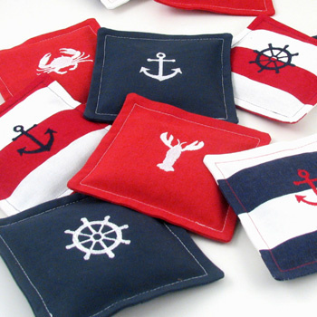 nautical French lavender drawer sachets with embroidered icon