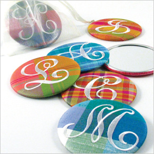 Objects of Desire personalized plaid silk purse mirror
