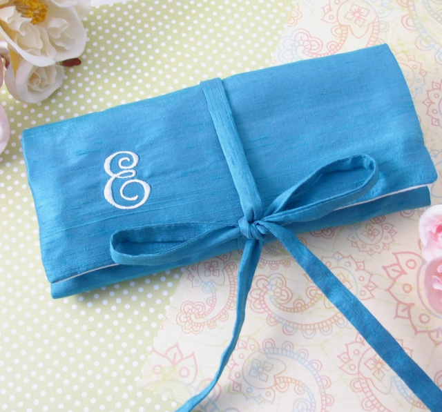 personalized polyester dupioni jewelry roll, monogrammed jewelry cases