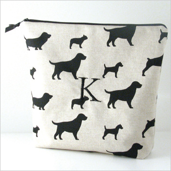 Personalized printed cotton lingerie bag by Objects of Desire is monogrammed with a single initial of your choice.