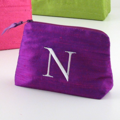 personalized small silk cosmetic bags by Objects of Desire