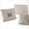personalized linen cosmetic bag - small