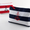 personalized initial anchor cosmetic bag - large