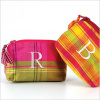 personalized plaid silk coin purse
