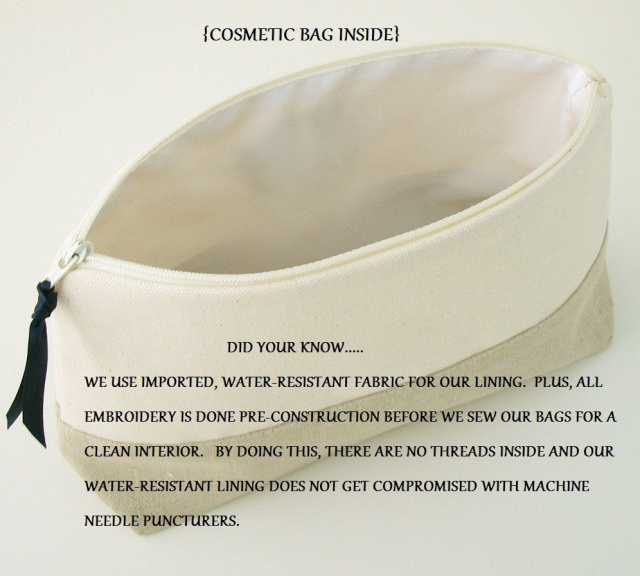 interior of cosmetic bag