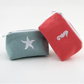 coastal theme coin purse with embroidered starfish and seahorse icon
