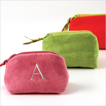 personalized faux suede coin purse