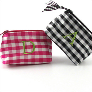 personalized silk gingham coin purse with classic initial