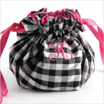 personalized silk gingham jewelry pouch by Objects of Desire
