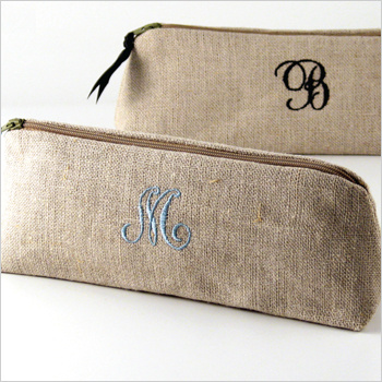 personalized linen cosmetic brush case by Objects of Desire