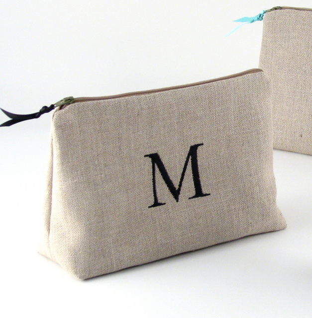 personalized linen cosmetic bag by Objects of Desire