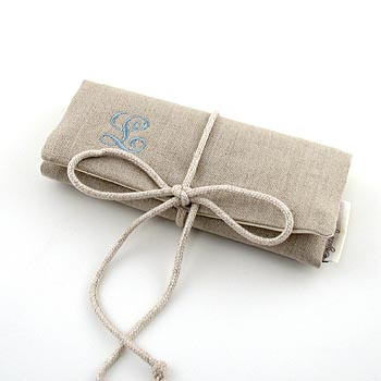 personalized linen jewelry roll