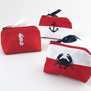 nautical theme coin purse with embroidered crab, seahorse, or anchor icon