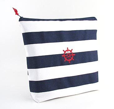 nautical theme lingerie bag with embroidered ships wheel icon