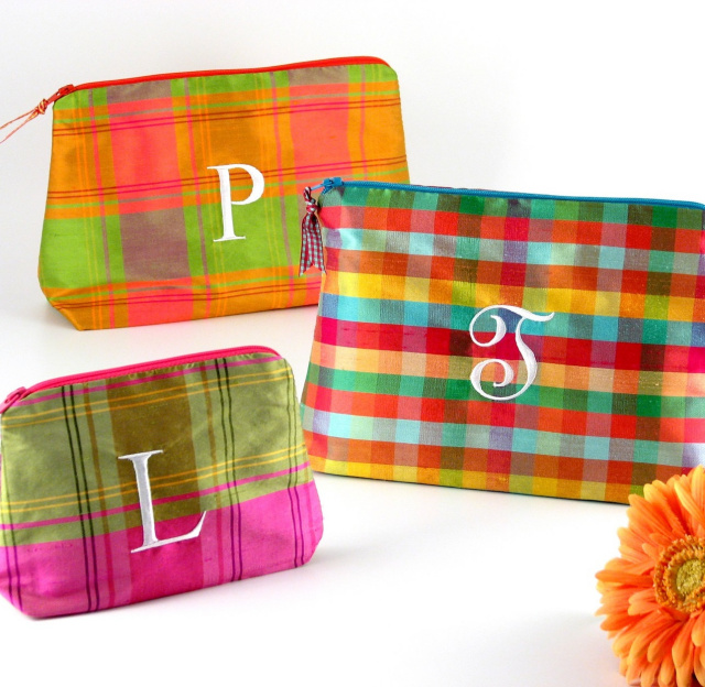 personalized plaid silk makeup bag by Objects of Desire