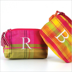 personalized plaid coin purses