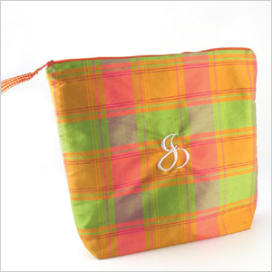 Objects of Desire silk plaid lingerie bag in papaya is personalized with an embroidered initial