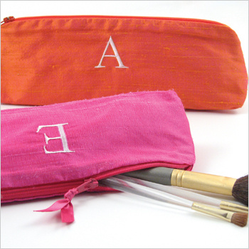 personalized solid silk cosmetic brush bag by Objects of Desire