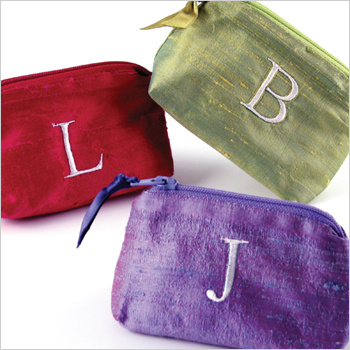 personalized solid silk coin purses