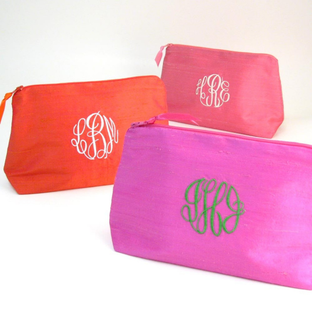 monogrammed silk makeup bag by Objects of Desire