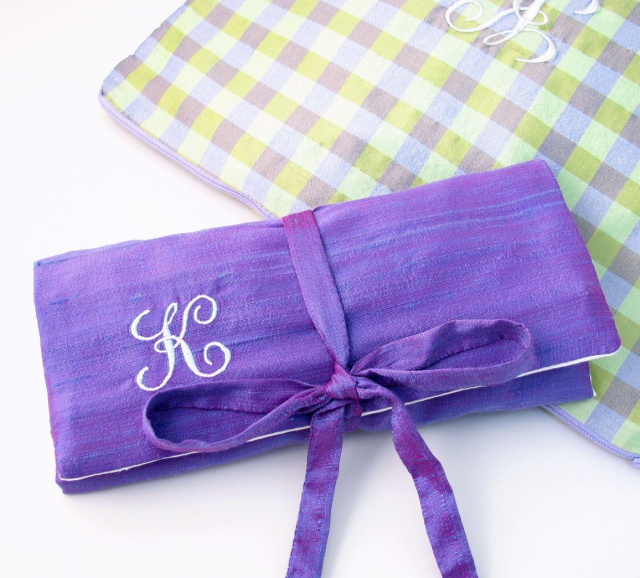 personalized silk jewelry roll by Objects of Desire
