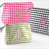 personalized gingham cosmetic bag - large