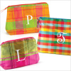 personalized plaid silk cosmetic bag - large