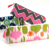 printed cotton cosmetic brush case