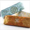 personalized brocade cosmetic brush bag