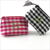 personalized silk gingham coin purse